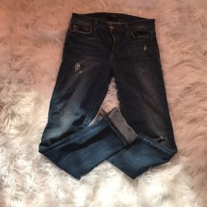 JOES highrise distressed straight legged jeans
